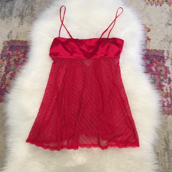 Victoria's Secret Other - NWT Victorias Secret Red Silk & Lace Chemise XS